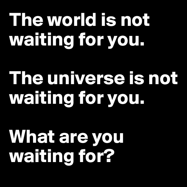 The world is not waiting for you.  The universe is not waiting for you.  What are you waiting for?