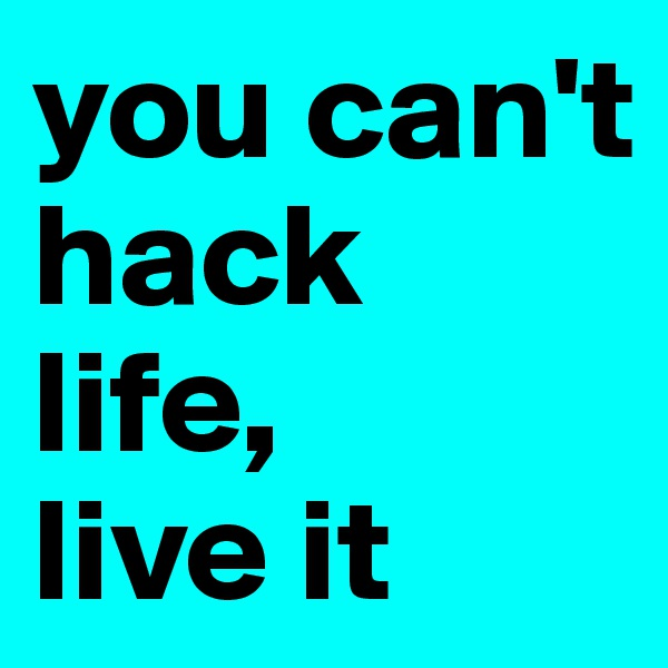 you can't hack life,  live it