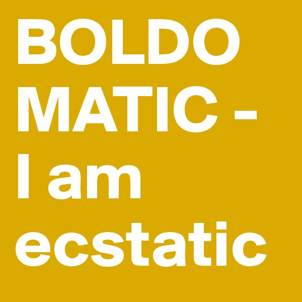BOLDOMATIC - I am ecstatic