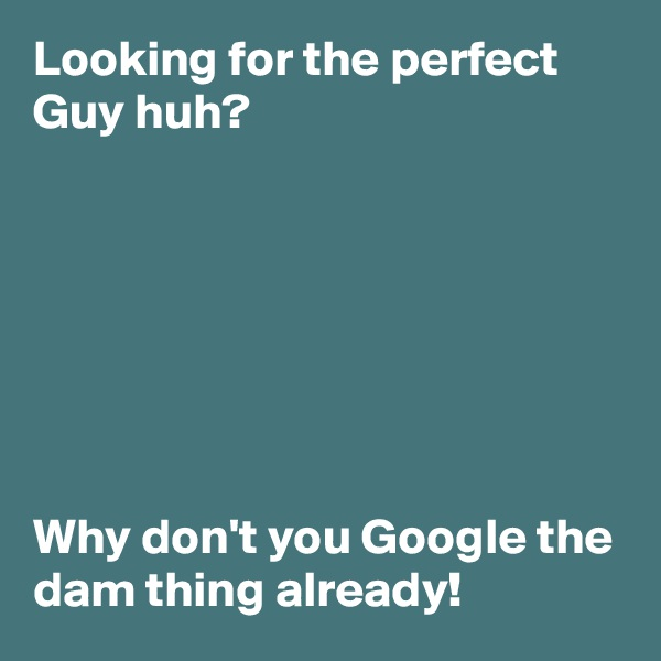 Looking for the perfect Guy huh?         Why don't you Google the dam thing already!