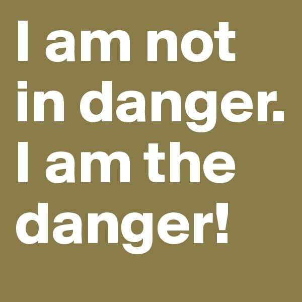 I am not  in danger.  I am the danger!