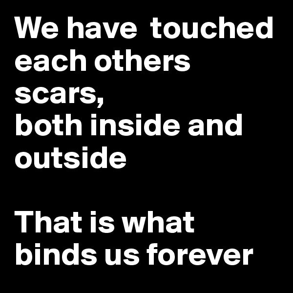 We have  touched each others scars,  both inside and outside  That is what binds us forever