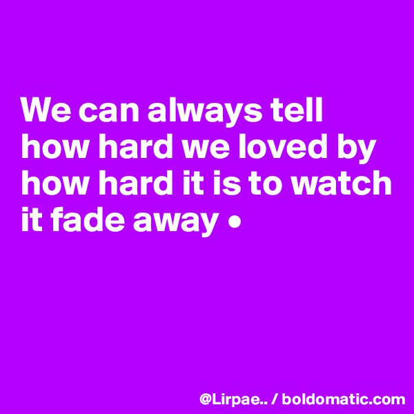 We can always tell how hard we loved by how hard it is to watch it fade away •