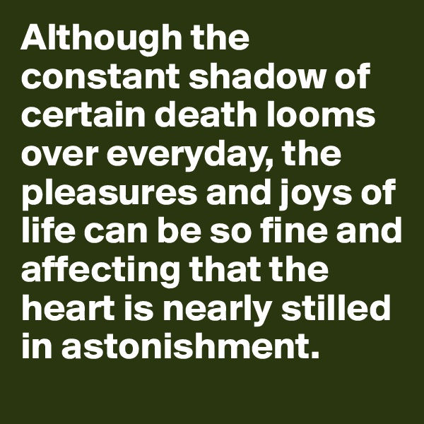 Although the constant shadow of certain death looms over everyday, the pleasures and joys of life can be so fine and affecting that the heart is nearly stilled in astonishment.