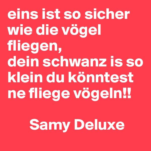 eins ist so sicher wie die vögel fliegen, dein schwanz is so klein du könntest ne fliege vögeln!!         Samy Deluxe