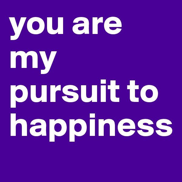 you are my pursuit to happiness