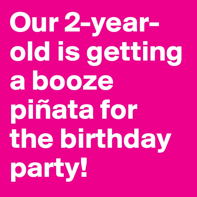 Our 2-year-old is getting a booze piñata for the birthday party!
