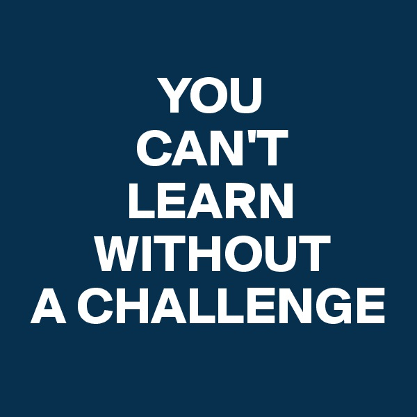 YOU            CAN'T           LEARN        WITHOUT  A CHALLENGE