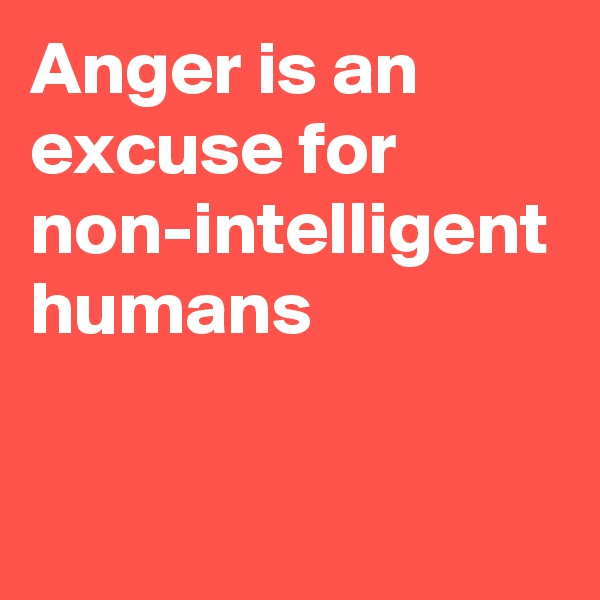 Anger is an excuse for non-intelligent humans