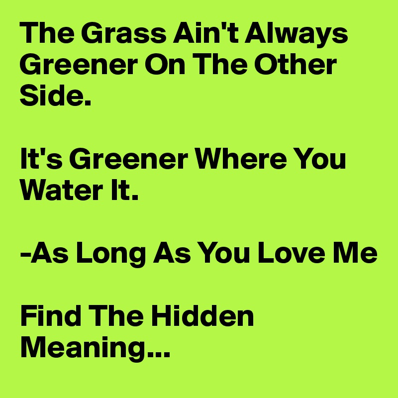 essay on the grass is always greener on other side When you believe the grass is always greener  still believing the grass is greener on the other side  if the grass is greener,.