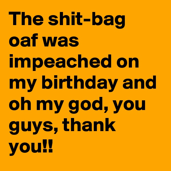 The shit-bag oaf was impeached on my birthday and oh my god, you guys, thank you!!