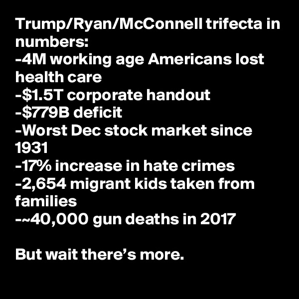 Trump/Ryan/McConnell trifecta in numbers: -4M working age Americans lost health care -$1.5T corporate handout -$779B deficit -Worst Dec stock market since 1931 -17% increase in hate crimes -2,654 migrant kids taken from families -~40,000 gun deaths in 2017  But wait there's more.