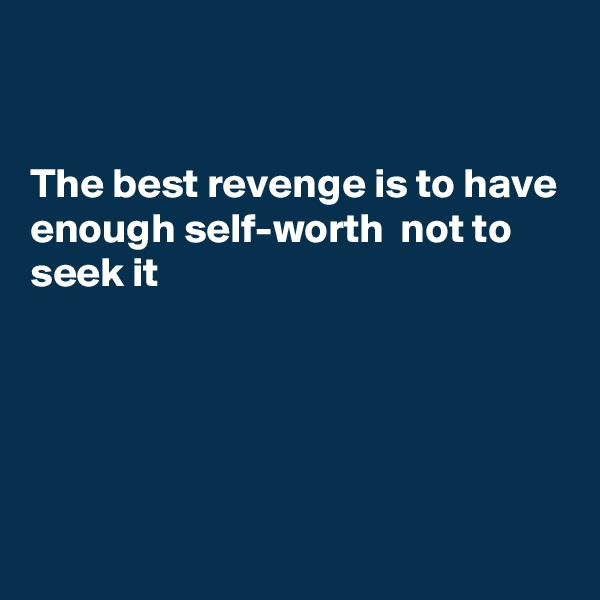 The best revenge is to have enough self-worth  not to seek it