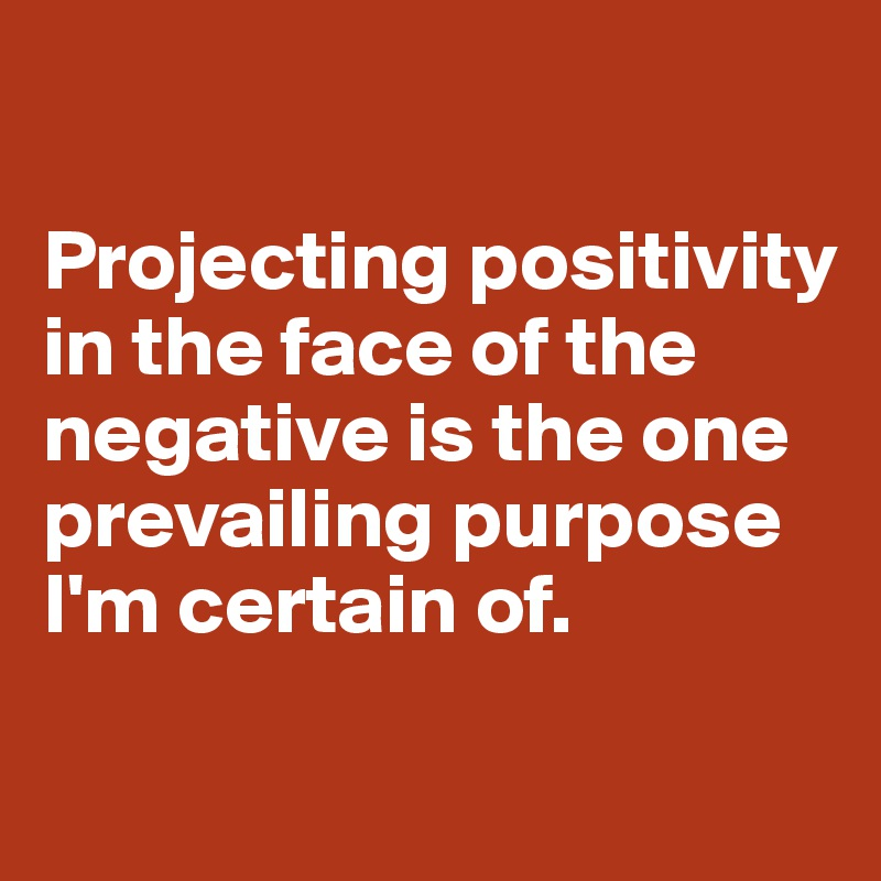 Projecting positivity in the face of the negative is the one prevailing purpose I'm certain of.