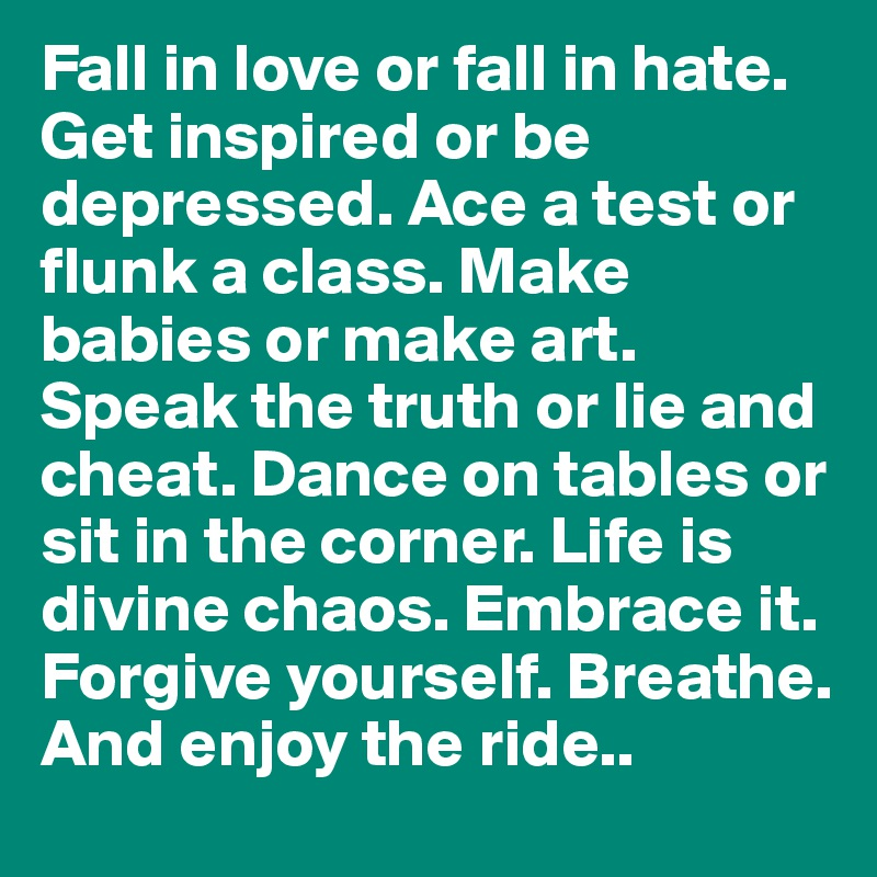 Fall in love or fall in hate. Get inspired or be depressed. Ace a test or flunk a class. Make babies or make art. Speak the truth or lie and cheat. Dance on tables or sit in the corner. Life is divine chaos. Embrace it. Forgive yourself. Breathe. And enjoy the ride..