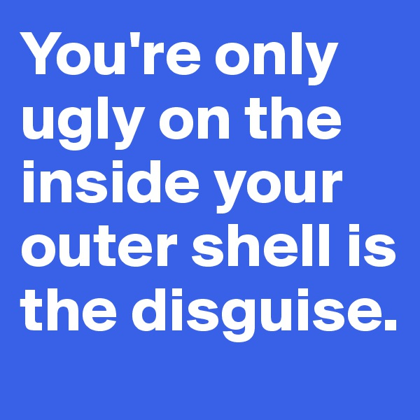 You're only ugly on the inside your outer shell is the disguise.