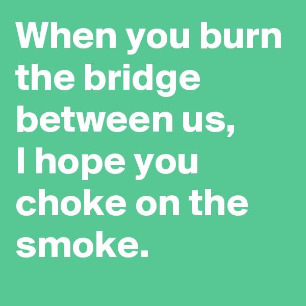 When you burn the bridge between us, I hope you choke on the smoke.