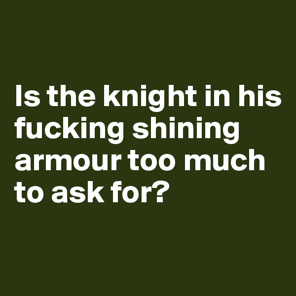 Is the knight in his fucking shining armour too much to ask for?