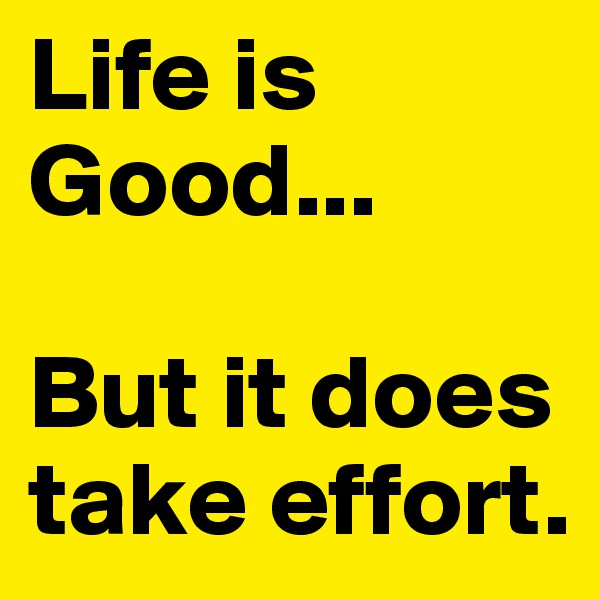 Life is Good...   But it does take effort.