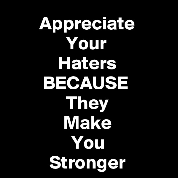 Appreciate Your  Haters BECAUSE  They Make You Stronger