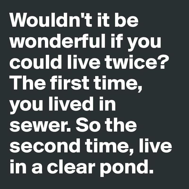 Wouldn't it be wonderful if you could live twice? The first time, you lived in sewer. So the second time, live in a clear pond.