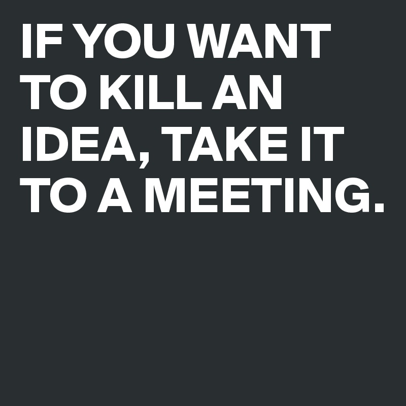 IF YOU WANT TO KILL AN IDEA, TAKE IT TO A MEETING.