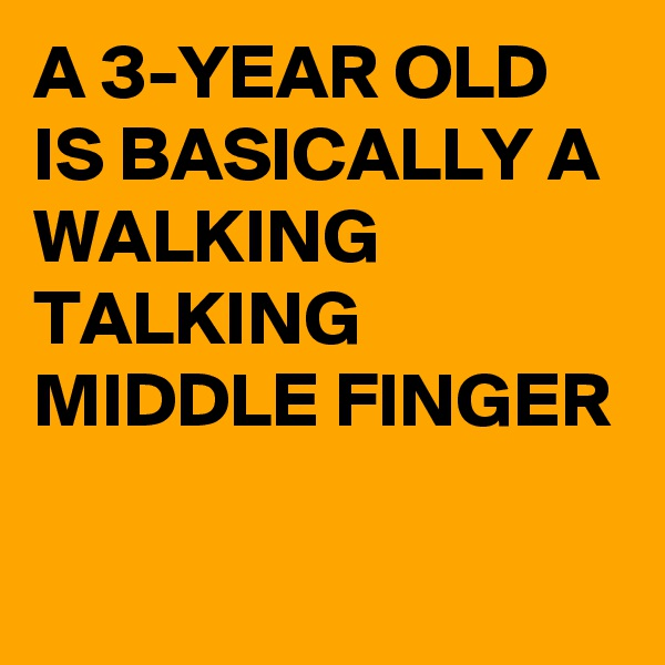 A 3-YEAR OLD IS BASICALLY A WALKING TALKING MIDDLE FINGER