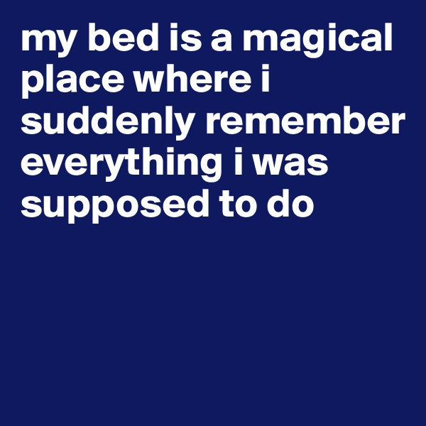 my bed is a magical place where i suddenly remember everything i was supposed to do