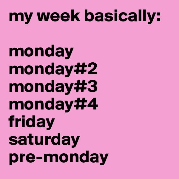 my week basically:   monday  monday#2 monday#3 monday#4 friday saturday pre-monday