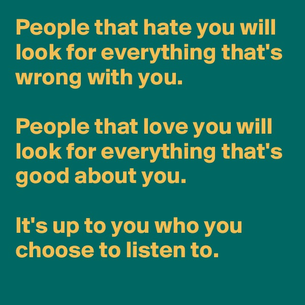 People that hate you will look for everything that's wrong with you.   People that love you will look for everything that's good about you.   It's up to you who you choose to listen to.