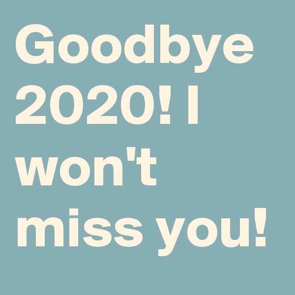 Goodbye 2020! I won't miss you!