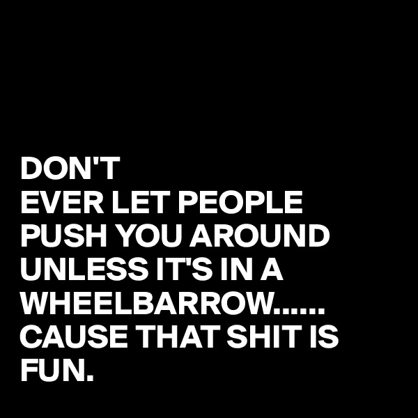 DON'T EVER LET PEOPLE PUSH YOU AROUND UNLESS IT'S IN A WHEELBARROW...... CAUSE THAT SHIT IS FUN.