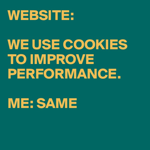 WEBSITE:  WE USE COOKIES TO IMPROVE PERFORMANCE.  ME: SAME