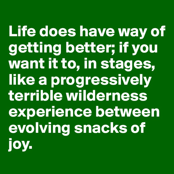 Life does have way of getting better; if you want it to, in stages, like a progressively terrible wilderness experience between evolving snacks of joy.