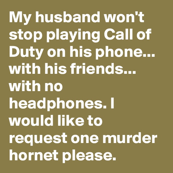 My husband won't stop playing Call of Duty on his phone... with his friends... with no headphones. I would like to request one murder hornet please.
