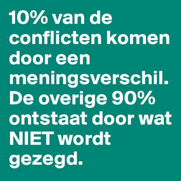 10% van de conflicten komen door een meningsverschil.  De overige 90% ontstaat door wat NIET wordt gezegd.