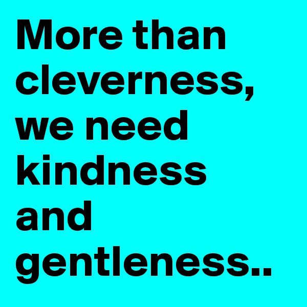 More than cleverness, we need kindness and gentleness..