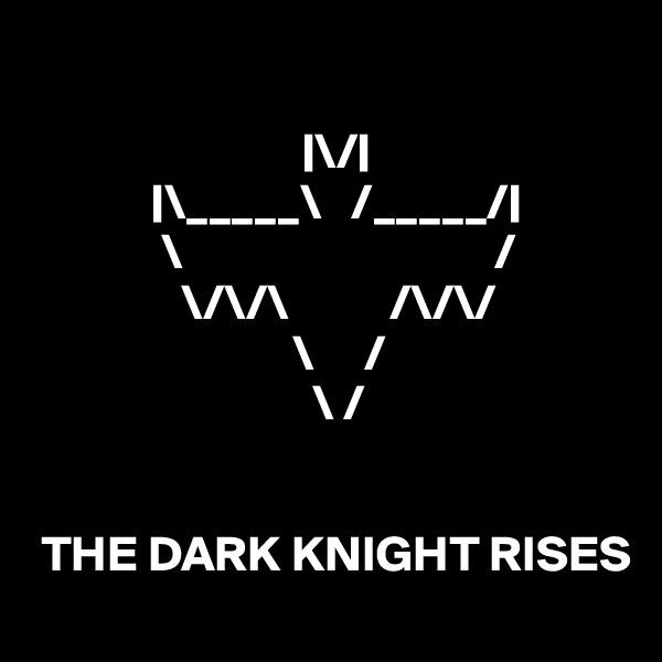 |\/|             |\_____\   /_____/|              \                               /                \/\/\          /\/\/                           \     /                             \ /                                  THE DARK KNIGHT RISES