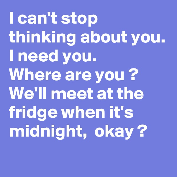 I can't stop thinking about you. I need you. Where are you ?  We'll meet at the fridge when it's midnight,  okay ?