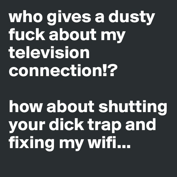 who gives a dusty fuck about my television connection!?  how about shutting your dick trap and fixing my wifi...