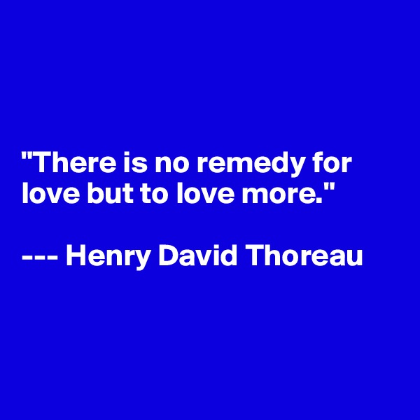 """There is no remedy for love but to love more.""  --- Henry David Thoreau"