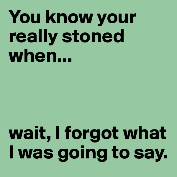 You know your really stoned when...     wait, I forgot what I was going to say.