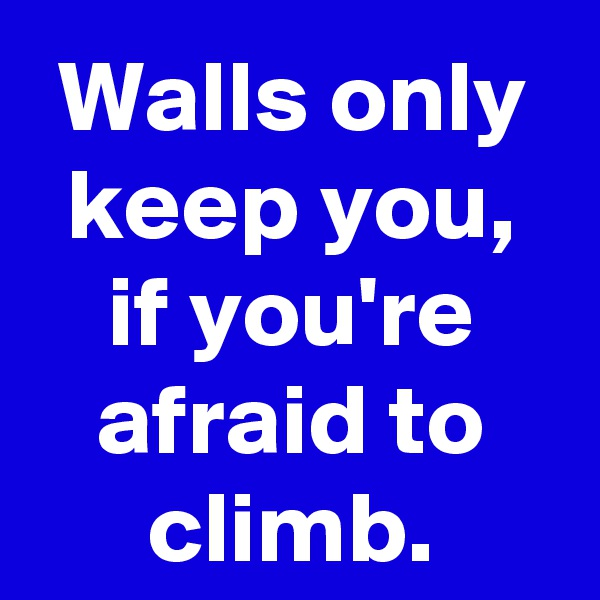 Walls only keep you, if you're afraid to climb.