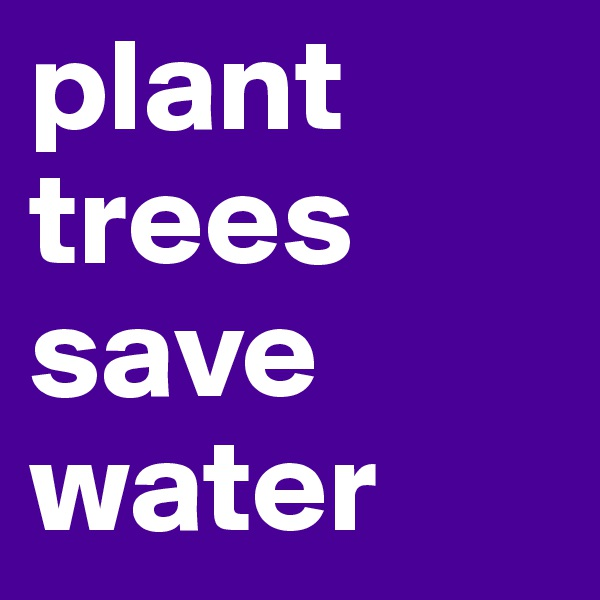 plant trees save water