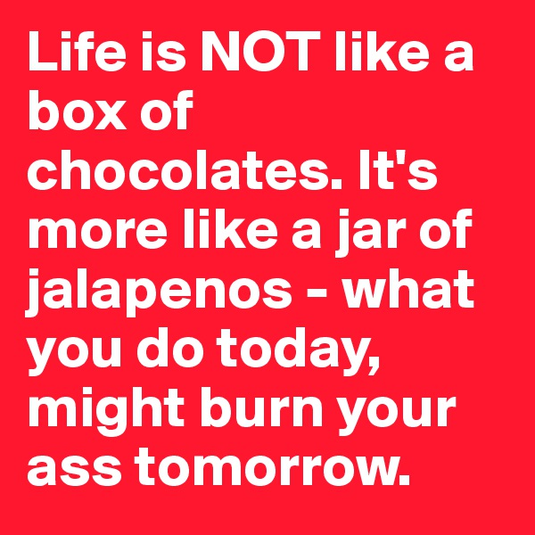 Life is NOT like a box of chocolates. It's more like a jar of jalapenos - what you do today, might burn your ass tomorrow.