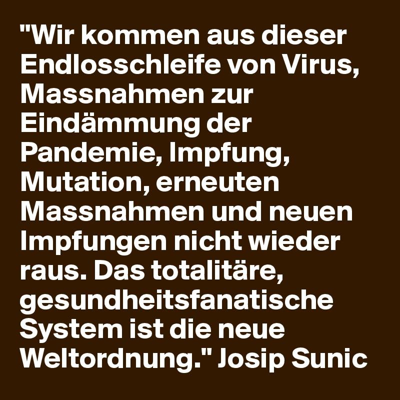 """""""Wir kommen aus dieser Endlosschleife von Virus, Massnahmen zur Eindämmung der Pandemie, Impfung, Mutation, erneuten Massnahmen und neuen Impfungen nicht wieder raus. Das totalitäre, gesundheitsfanatische System ist die neue Weltordnung."""" Josip Sunic"""