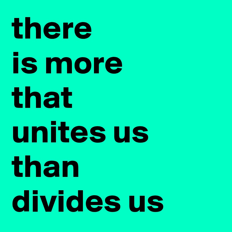 there is more that  unites us than divides us