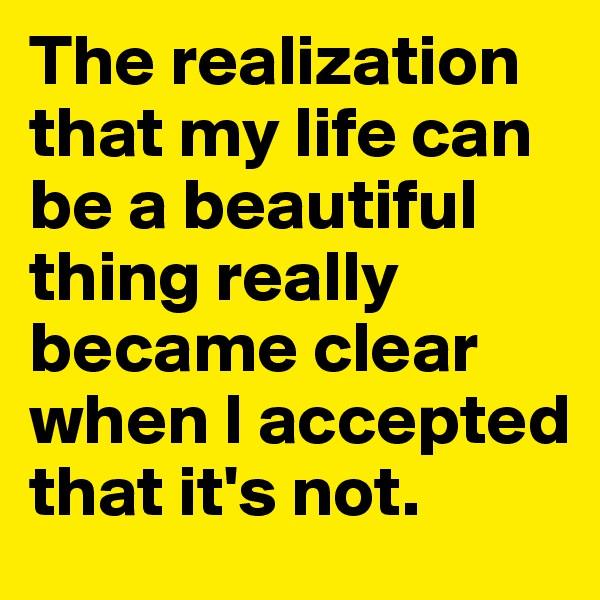 The realization that my life can be a beautiful thing really became clear when I accepted that it's not.