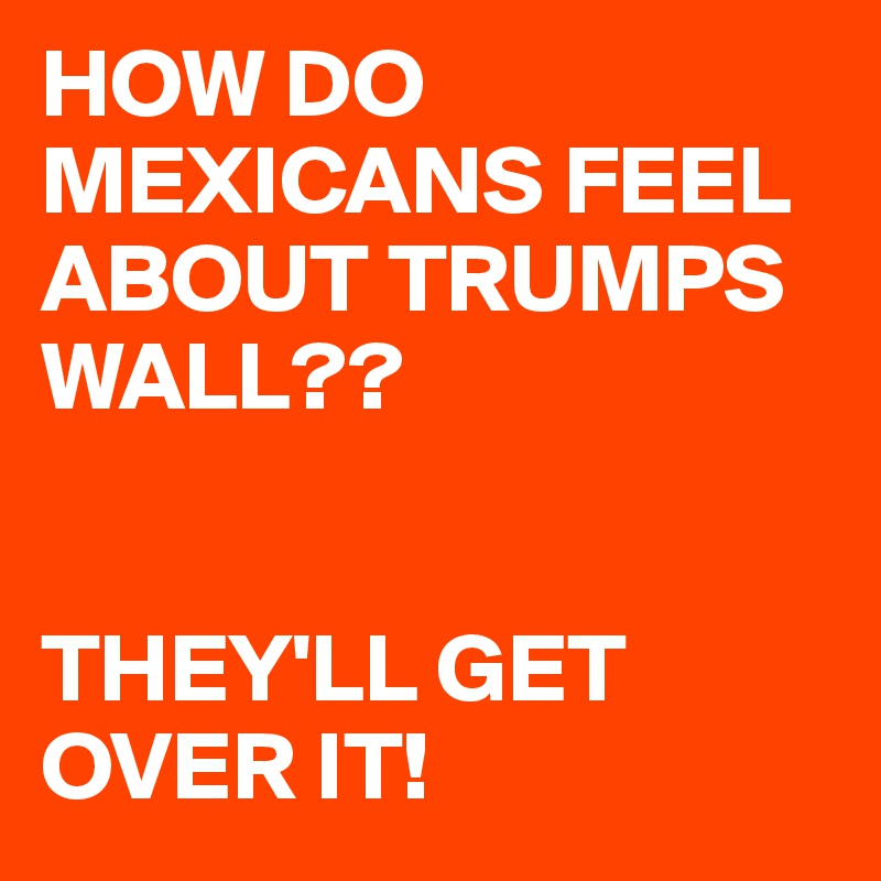 HOW DO MEXICANS FEEL ABOUT TRUMPS WALL??   THEY'LL GET OVER IT!