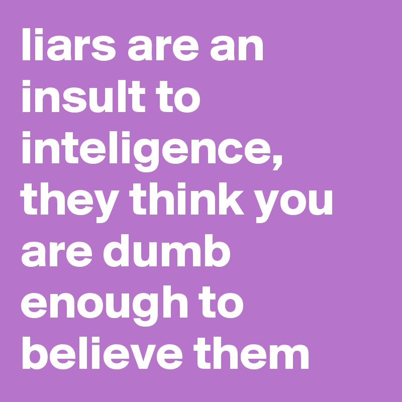 liars are an insult to inteligence, they think you are dumb enough to believe them